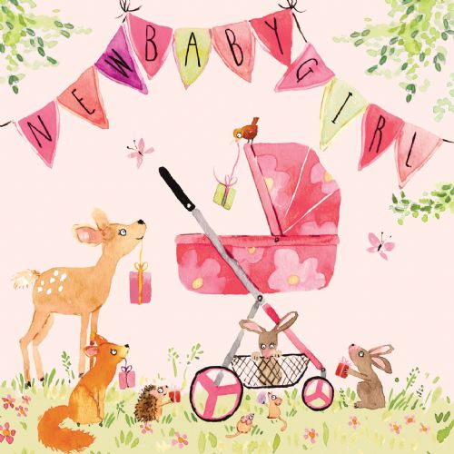 FIZ3 - New Baby Girl Card Woodland